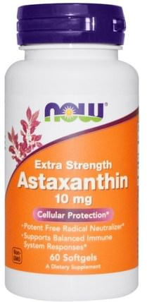 Astaxanthin, Extra Strength, 10 mg, 60 Softgels by Now Foods, 補充劑,抗氧化劑,蝦青素 HK 香港