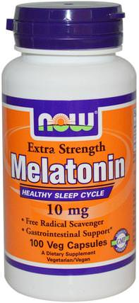 Extra Strength Melatonin, 10 mg, 100 Veg Capsules by Now Foods, 補充劑,睡眠,褪黑激素 HK 香港