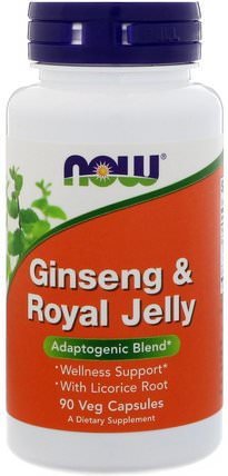 Ginseng & Royal Jelly, 90 Veg Capsules by Now Foods, 補充劑,蜂產品,adaptogen HK 香港