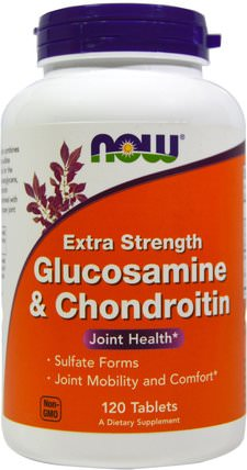 Glucosamine & Chondroitin, Extra Strength, 120 Tablets by Now Foods, 補充劑,氨基葡萄糖軟骨素 HK 香港