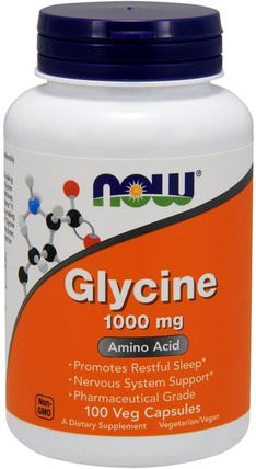 Glycine, 1.000 mg, 100 Veg Capsules by Now Foods, 補充劑,氨基酸 HK 香港