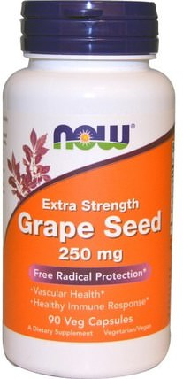Grape Seed, Extra Strength, 250 mg, 90 Veg Capsules by Now Foods, 補充劑,抗氧化劑,葡萄籽提取物 HK 香港