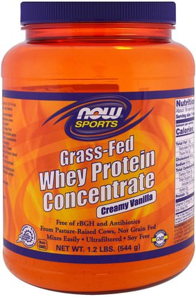 Grass-Fed Whey Protein Concentrate, Creamy Vanilla, 1.2 lbs (544 g) by Now Foods, 運動,補品,乳清蛋白 HK 香港