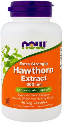Hawthorn Extract, Extra Strength, 600 mg, 90 Veg Capsules by Now Foods, 健康,血壓,草藥,山楂 HK 香港