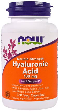 Hyaluronic Acid, Double Strength, 100 mg, 120 Veg Capsules by Now Foods, 美容,抗衰老,透明質酸,健康,骨骼,骨質疏鬆症 HK 香港