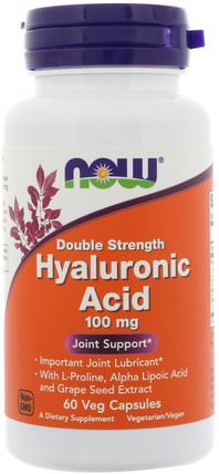 Hyaluronic Acid, Double Strength, 100 mg, 60 Veg Capsules by Now Foods, 美容,抗衰老,透明質酸,健康,骨骼,骨質疏鬆症 HK 香港