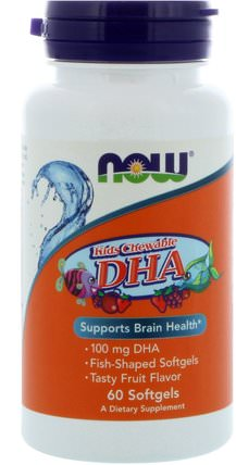 Kids Chewable DHA, Fruit Flavor, 60 Softgels by Now Foods, 補充劑,efa omega 3 6 9(epa dha),dha chewable,兒童健康,現在食品兒童和嬰兒 HK 香港