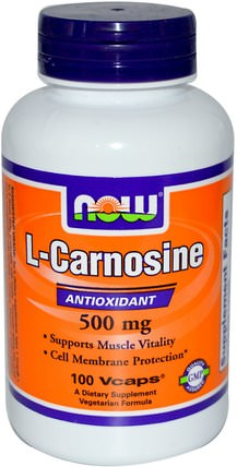 L-Carnosine, 500 mg, 100 Veg Capsules by Now Foods, 補充劑,抗氧化劑,氨基酸 HK 香港