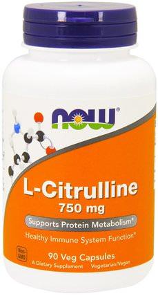 L-Citrulline, 750 mg, 90 Veg Capsules by Now Foods, 補充劑,氨基酸,瓜氨酸,運動,一氧化氮 HK 香港