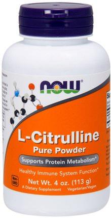 L-Citrulline, Pure Powder, 4 oz (113 g) by Now Foods, 補充劑,氨基酸,瓜氨酸,運動,一氧化氮 HK 香港
