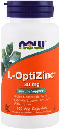 L-OptiZinc, 30 mg, 100 Veg Capsules by Now Foods, 補品,礦物質,銅,鋅 HK 香港