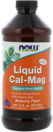 Liquid Cal-Mag, Blueberry Flavor, 16 fl oz (473 ml) by Now Foods, 補充劑,礦物質,鈣和鎂,液體鈣 HK 香港