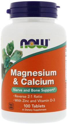 Magnesium & Calcium, Reverse 2:1 Ratio with Zinc and Vitamin D-3, 100 Tablets by Now Foods, 補充劑,礦物質,鈣和鎂 HK 香港