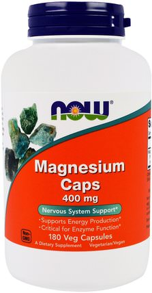 Magnesium Caps, 400 mg, 180 Veggie Caps by Now Foods, 補充劑,礦物質,鈣和鎂 HK 香港