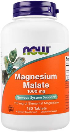 Magnesium Malate, 1.000 mg, 180 Tablets by Now Foods, 補充劑,礦物質,蘋果酸鈣和鎂 HK 香港