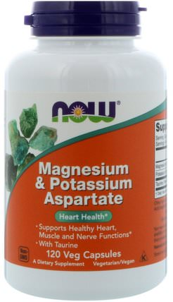 Magnesium & Potassium Aspartate, 120 Capsules by Now Foods, 補充劑,礦物質,天門冬氨酸鈣和鎂 HK 香港