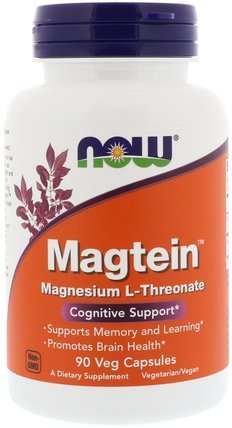 Magtein, Magnesium L-Threonate, 90 Veg Capsules by Now Foods, 補充劑,礦物質,鎂,健康,注意力缺陷障礙,添加,adhd,腦 HK 香港