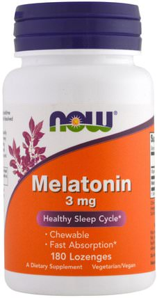 Melatonin, 3 mg, 180 Lozenges by Now Foods, 補充劑,褪黑激素 HK 香港