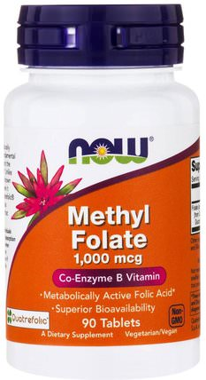 Methyl Folate, 1.000 mcg, 90 Tablets by Now Foods, 維生素,葉酸,5-mthf葉酸(5甲基四氫葉酸) HK 香港