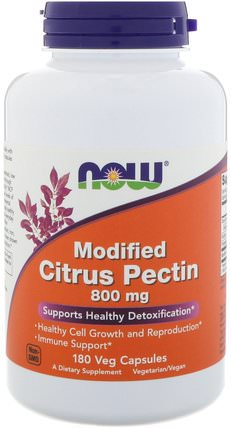 Modified Citrus Pectin, 800 mg, 180 Veg Capsules by Now Foods, 補充劑,纖維,柑橘果膠改性 HK 香港