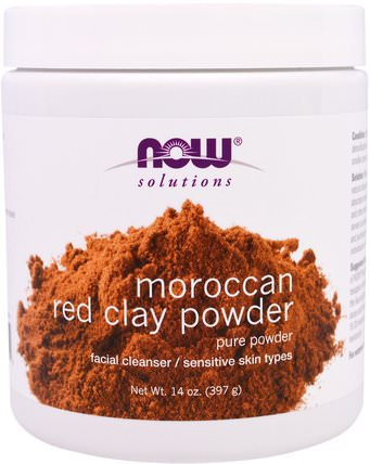 Moroccan Red Clay Powder, Facial Cleanser, 14 oz (397 g) by Now Foods, 健康,排毒,粘土,美容,面部護理,皮膚 HK 香港