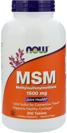 MSM, Methylsulphonylmethane, 1.500 mg, 200 Tablets by Now Foods, 健康,關節炎,骨骼,骨質疏鬆症,msm HK 香港