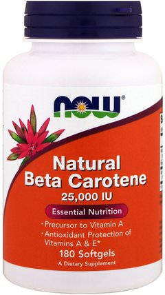 Natural Beta Carotene, 25.000 IU, 180 Softgels by Now Foods, 維生素,維生素a,β胡蘿蔔素,補充劑,類胡蘿蔔素 HK 香港