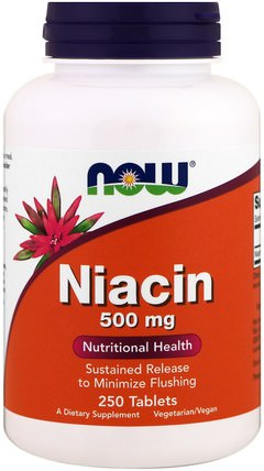 Niacin, 500 mg, 250 Tablets by Now Foods, 維生素,維生素b,維生素b3,維生素b3 - 菸酸 HK 香港