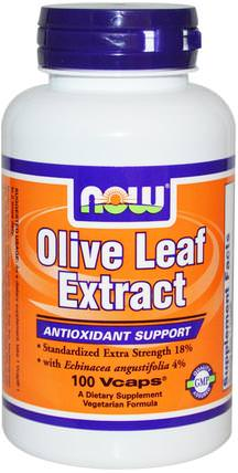 Olive Leaf Extract, 100 Veg Capsules by Now Foods, 補充劑,抗生素,紫錐花,健康,橄欖葉 HK 香港