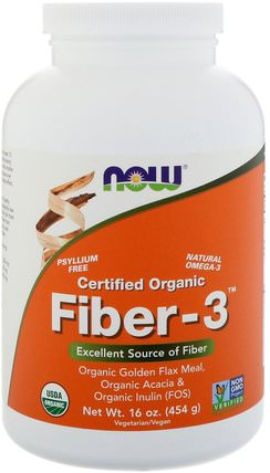Organic Fiber-3, Powder, 16 oz (454 g) by Now Foods, 補充劑,纖維,金合歡纖維 HK 香港