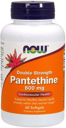 Pantethine, Double Strength, 600 mg, 60 Softgels by Now Foods, 健康,膽固醇支持,泛硫乙胺 HK 香港