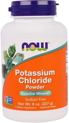 Potassium Chloride Powder, 8 oz (227 g) by Now Foods, 補品,礦物質,氯化鉀 HK 香港