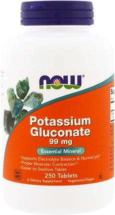 Potassium Gluconate, 99 mg, 250 Tablets by Now Foods, 補品,礦物質,葡萄糖酸鉀 HK 香港