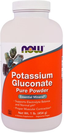 Potassium Gluconate Pure Powder, 1 lb (454 g) by Now Foods, 補品,礦物質,葡萄糖酸鉀 HK 香港