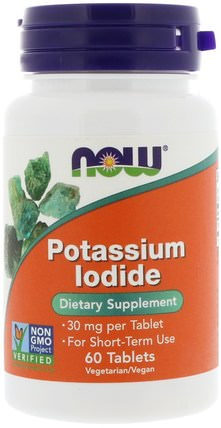Potassium Iodide, 30 mg, 60 Tablets by Now Foods, 補品,礦物質,碘化鉀 HK 香港