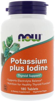 Potassium Plus Iodine, 180 Tablets by Now Foods, 補品,礦物質,碘化鉀 HK 香港