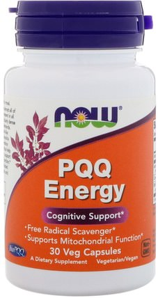 PQQ Energy, 30 Veg Capsules by Now Foods, 補充劑,抗氧化劑,pqq(biopqq),抗衰老 HK 香港