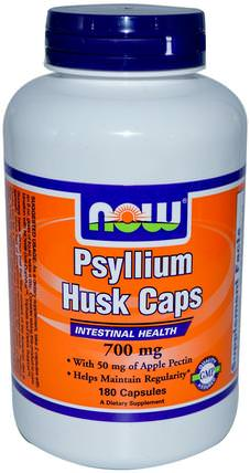 Psyllium Husk Caps, 700 mg, 180 Capsules by Now Foods, 補品,纖維,洋車前子殼 HK 香港
