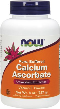Pure, Buffered Calcium Ascorbate, Vitamin C Powder, 8 oz (227 g) by Now Foods, 維生素,維生素c,礦物質,鈣 HK 香港