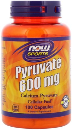 Pyruvate, 600 mg, 100 Capsules by Now Foods, 體育,丙酮酸,健康,飲食 HK 香港