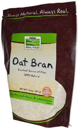 Real Food, Organic Oat Bran, 14 oz (397 g) by Now Foods, 補品,纖維,燕麥麩 HK 香港