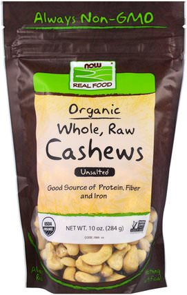 Real Food, Organic Whole, Raw Cashews, Unsalted, 10 oz (284 g) by Now Foods, 食物,堅果種子穀物,腰果 HK 香港