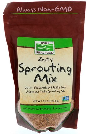 Real Food, Zesty Sprouting Mix, 16 oz (454 g) by Now Foods, 食品,堅果種子穀物,苜蓿種子 HK 香港