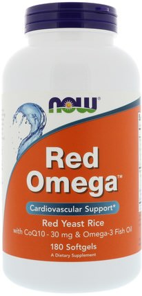 Red Omega, Red Yeast Rice with CoQ10, 30 mg, 180 Softgels by Now Foods, 補充劑,輔酶q10,coq10 +魚油,健康,膽固醇支持,紅曲米+輔酶q10 HK 香港