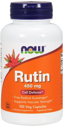 Rutin, 450 mg, 100 Veggie Caps by Now Foods, 補充劑,抗氧化劑,蘆丁 HK 香港
