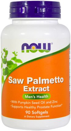 Saw Palmetto Extract, With Pumpkin Seed Oil and Zinc, 160 mg, 90 Softgels by Now Foods, 補充劑,efa omega 3 6 9(epa dha),南瓜籽油,礦物質,鋅 HK 香港