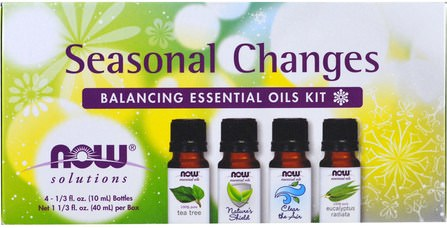 Seasonal Changes, Balancing Essential Oils Kit, 4 Bottles, 1/3 fl oz. (10 ml) Each by Now Foods, 補充劑,氨基酸,bcaa(支鏈氨基酸) HK 香港