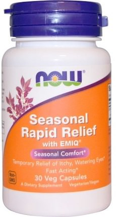 Seasonal Rapid Relief, With EMIQ, 30 Veggie Caps by Now Foods, 健康,過敏,過敏 HK 香港