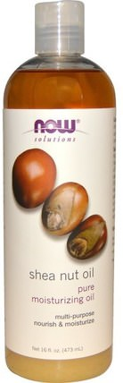 Solutions, Shea Nut Oil, Pure Moisturizing Oil, 16 fl oz (473 ml) by Now Foods, 現在食用油,健康,沐浴,美容油,身體護理油 HK 香港