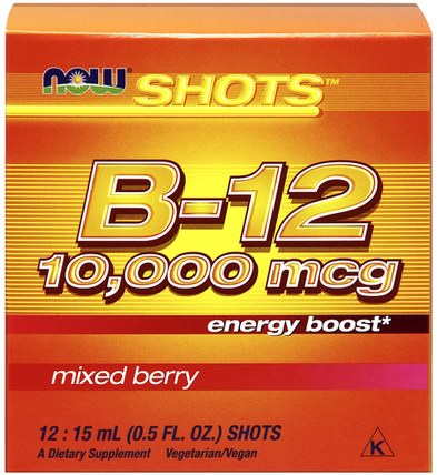 Shots, B-12, Mixed Berry, 10.000 mcg, 12 Shots, 0.5 fl oz (15 ml) Each by Now Foods, 維生素,維生素b,維生素b12,維生素b12 - 液體 HK 香港